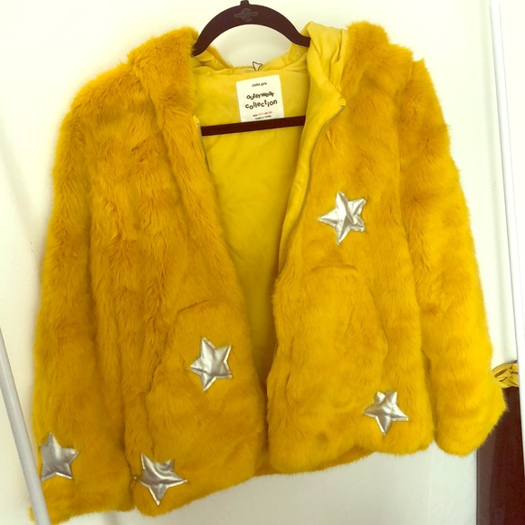 8efe8bf1 Zara Jackets & Coats | Yellow Faux Fur Jacket | Poshmark